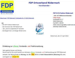 Offene Fraktionssitzung der FDP Rödermark. Klicken Sie auf die Einladung.