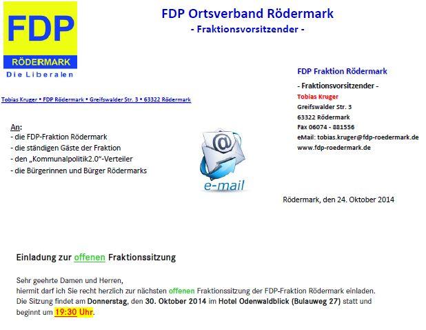 FDP-Rödermark. Offene Fraktionssitzung 30.10.2014