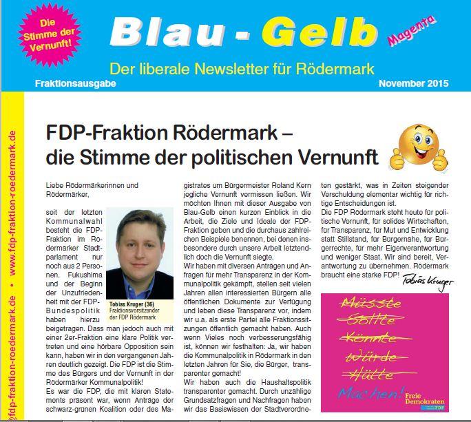 Blau-Gelb. Newsletter November 2015
