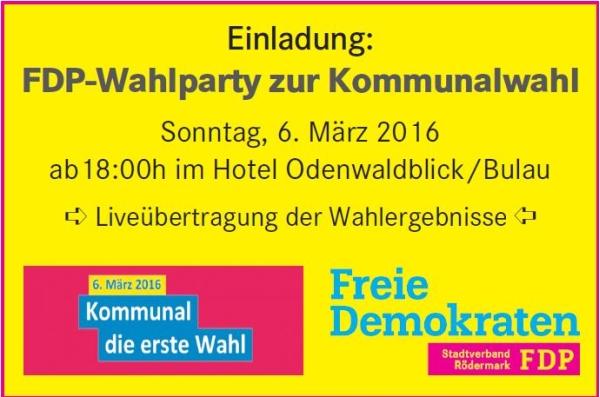 Einladung zur FDP Wahlparty