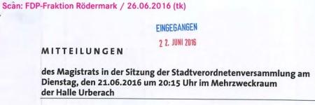 Mitteilungen des Magistrats. Stavo 21.06.2016