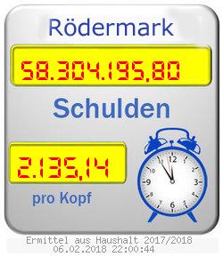 FDP Schuldenuhr für Rödermark