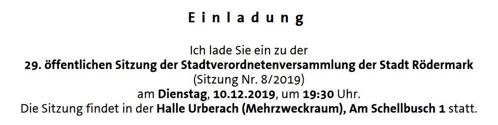 Stadtverordnetenversammlung (Stavo) 10.12.2019